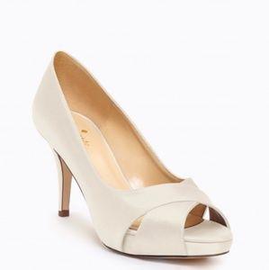 Kate Spade Billie Satin Peep Toe Wedding Heels 8.5